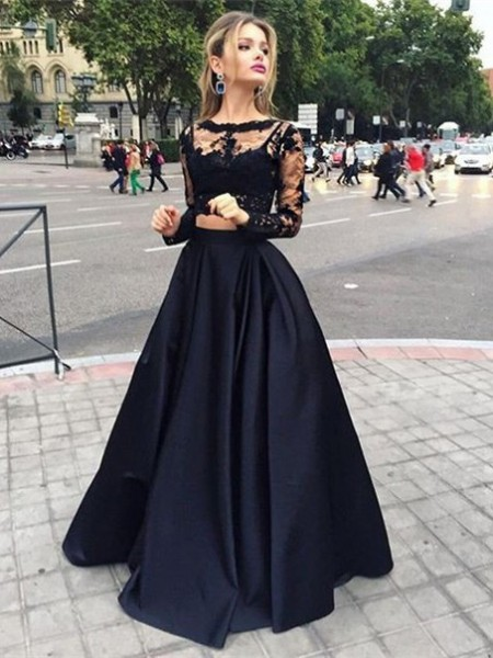 Ball Gown Long Sleeves Bateau Long Black Satin Prom Dresses