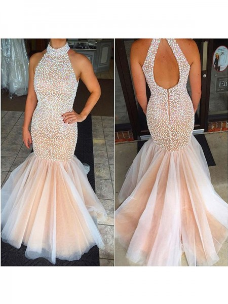 Mermaid Sleeveless Halter Long Pearl Pink Tulle Prom Dresses