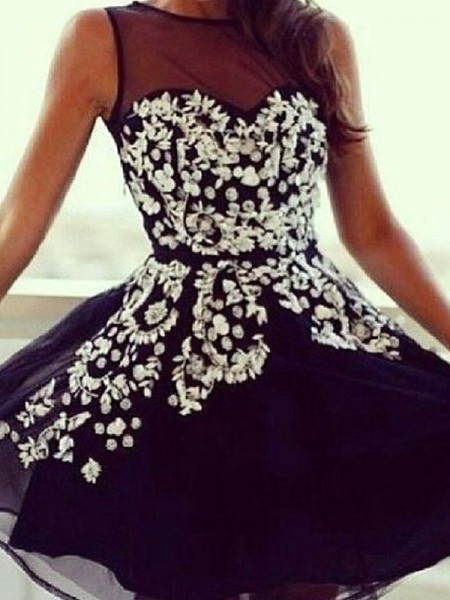 A-line/Princess Sleeveless Scoop Short Black Chiffon Homecoming Dresses