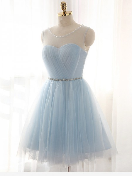 A-line/Princess Sleeveless Scoop Short Light Sky Blue Tulle Homecoming Dresses
