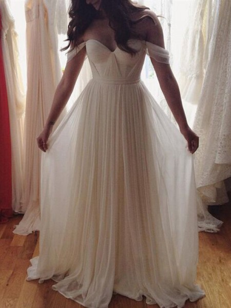 A-Line/Princess Sleeveless Off-the-Shoulder Long Ivory Chiffon Prom Dresses