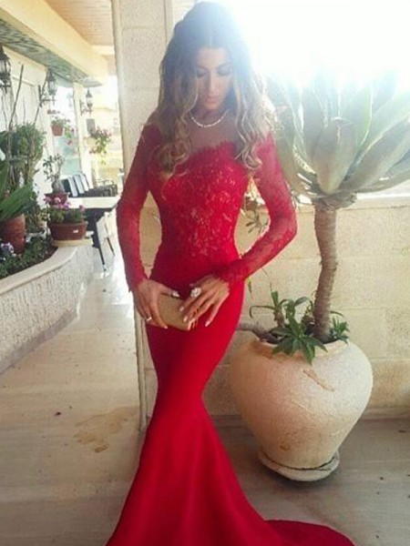 Mermaid Long Sleeves Off-the-Shoulder Sweep Train Red Satin Prom Dresses