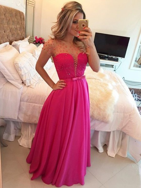 A-Line/Princess Short Sleeves Scoop Long Red Chiffon Prom Dresses