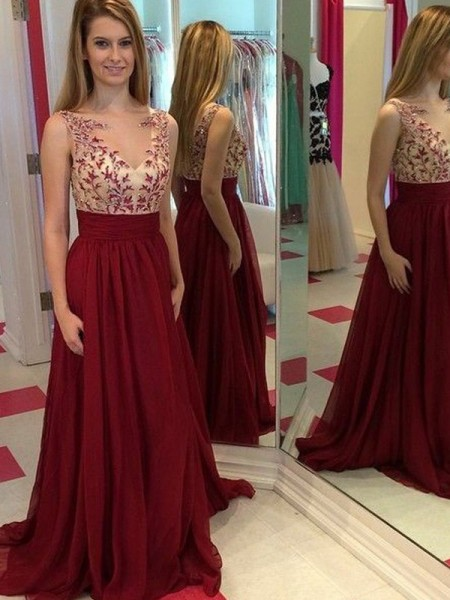 A-Line/Princess Sleeveless Bateau Long Red Chiffon Prom Dresses