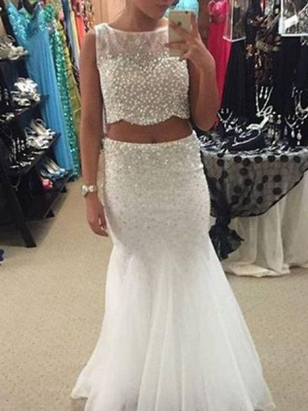 Mermaid Sleeveless Scoop Long White Tulle Prom Dresses