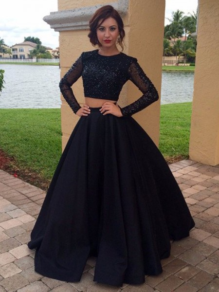 Ball Gown Long Sleeves Scoop Long Black Satin Prom Dresses