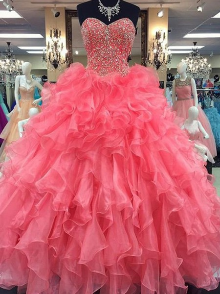 Ball Gown Sleeveless Sweetheart Long Watermelon Organza Prom Dresses