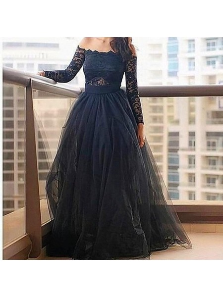 A-Line/Princess Long Sleeves Off-the-Shoulder Long Black Tulle Prom Dresses