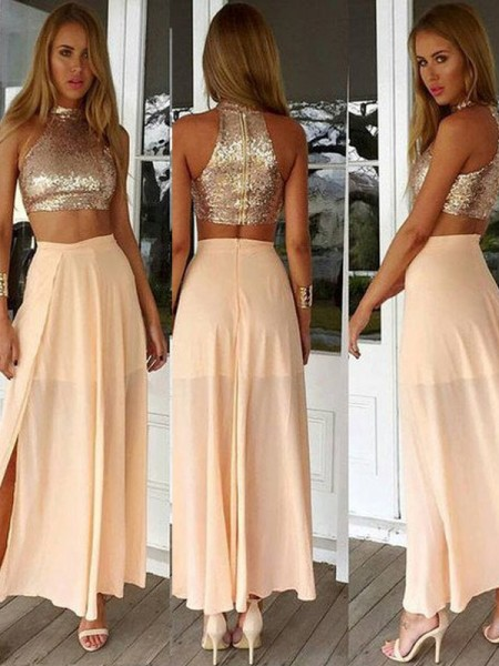 A-Line/Princess Sleeveless High Neck Short Pearl Pink Chiffon Prom Dresses