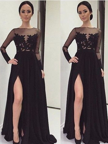 A-Line/Princess Long Sleeves Bateau Long Black Chiffon Prom Dresses