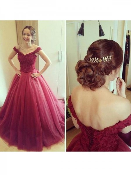 Ball Gown Sleeveless Off-the-Shoulder Long Burgundy Tulle Prom Dresses