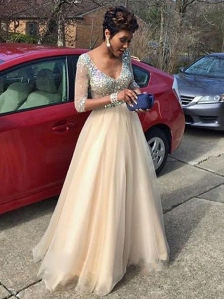 A-Line/Princess Long Sleeves V-Neck Long Ivory Tulle Prom Dresses
