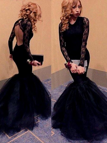 Mermaid Long Sleeves Scoop Sweep/Brush Train Black Tulle Prom Dresses