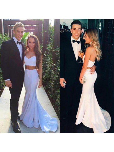 Mermaid Sleeveless Sweetheart Sweep Train White Satin Prom Dresses