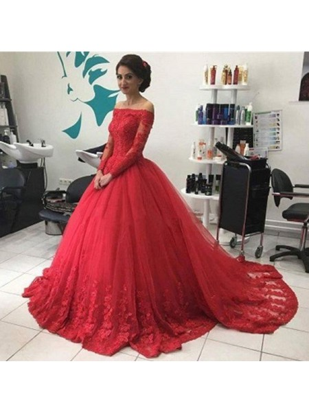 Ball Gown Long Sleeves Off-the-Shoulder Sweep Train Red Tulle Prom Dresses