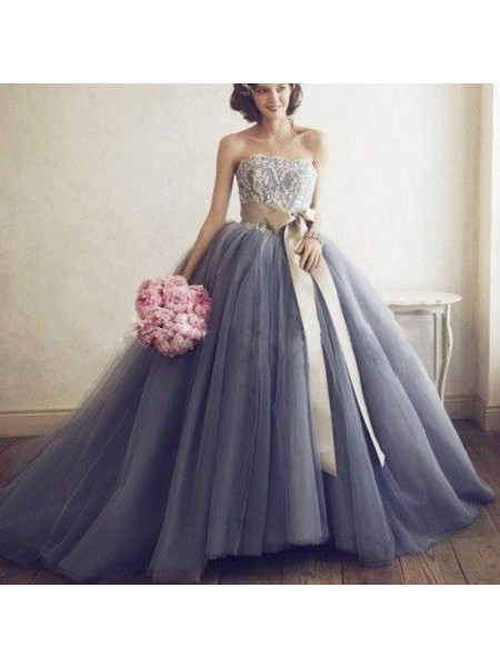 Ball Gown Sleeveless Sweetheart Long Silver Tulle Prom Dresses