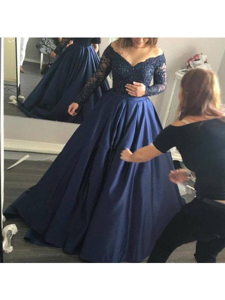 Ball Gown Long Sleeves Off-the-Shoulder Sweep Train Dark Navy Satin Prom Dresses