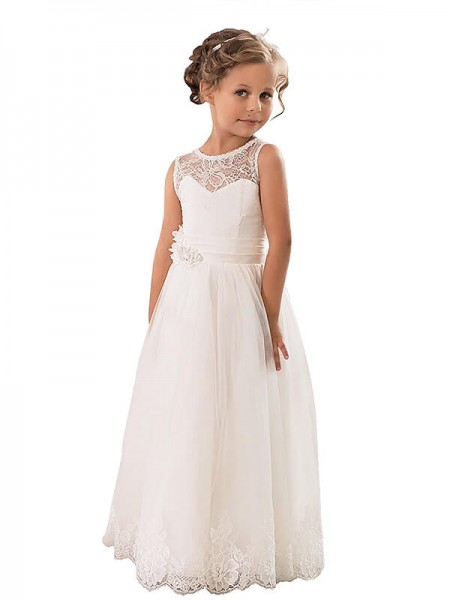 A-line/Princess Sleeveless Scoop Long Ivory Tulle Flower Girl Dresses
