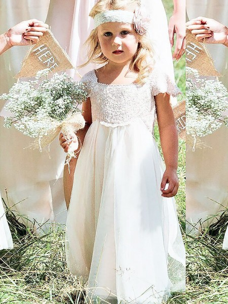 A-line/Princess Short Sleeves Square Long Ivory Chiffon Flower Girl Dresses
