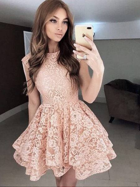 A-line/Princess Sleeveless Scoop Short Pearl Pink Lace Homecoming Dresses
