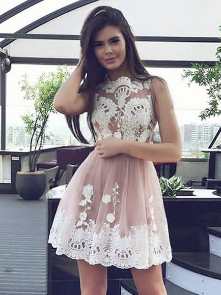 A-line/Princess Sleeveless Scoop Short Pink Chiffon Homecoming Dresses