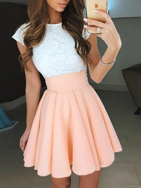 A-line/Princess Sleeveless Jewel Short Pink Chiffon Homecoming Dresses