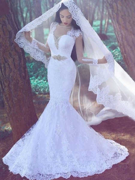 Mermaid Long Sleeves Sweetheart Court Train Ivory Lace Wedding Dresses