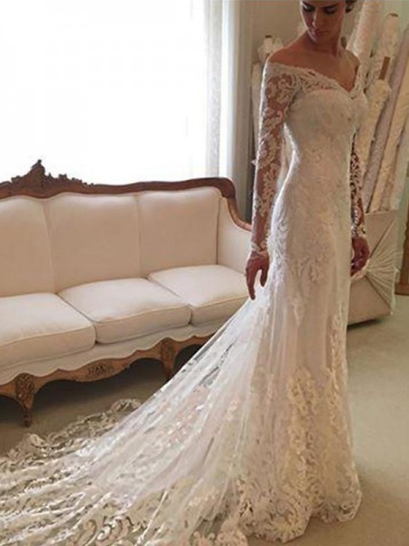 Sheath/Column Long Sleeves Off-the-Shoulder Court Train Ivory Lace Wedding Dresses