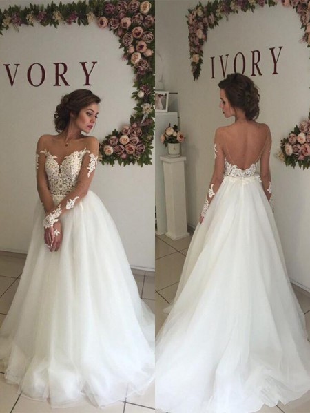 A-Line/Princess Long Sleeves Off-the-Shoulder Sweep Train Ivory Organza Wedding Dresses