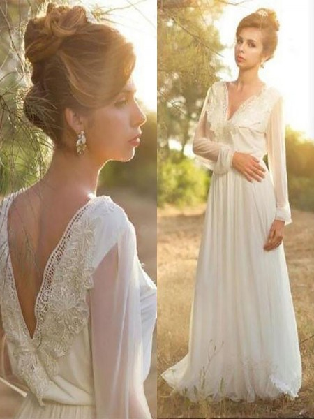 A-Line/Princess Long Sleeves V-neck Sweep Train Ivory Chiffon Wedding Dresses