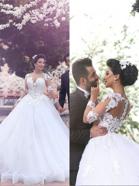 Ball Gown Long Sleeves Sweetheart Court Train Ivory Tulle Wedding Dresses