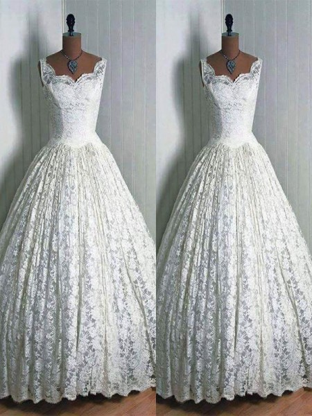 Ball Gown Sleeveless Sweetheart Long Ivory Lace Wedding Dresses