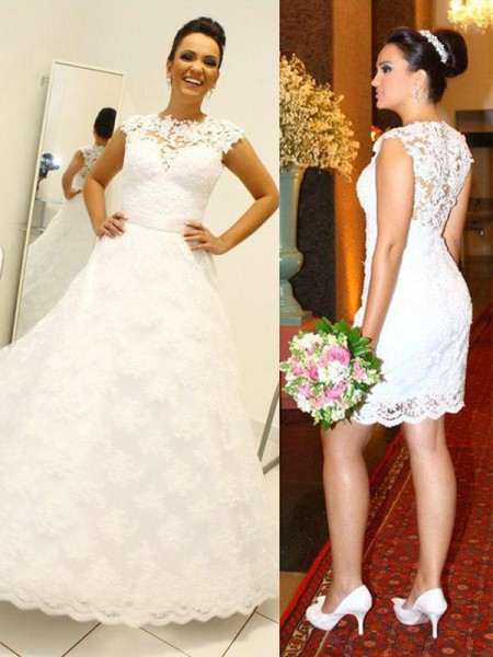 Ball Gown Sleeveless Scoop Long Ivory Lace Wedding Dresses