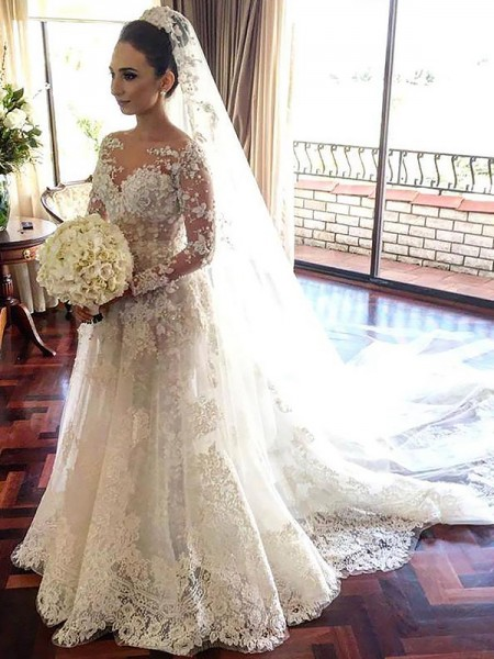 A-Line/Princess Long Sleeves Bateau Chapel Train Ivory Tulle Wedding Dresses