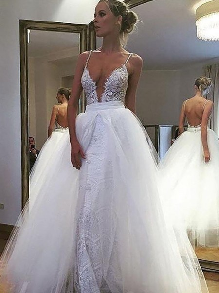 A-Line/Princess Sleeveless Spaghetti Straps Long Ivory Tulle Wedding Dresses