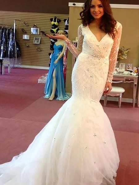 Mermaid Long Sleeves V-neck Court Train Ivory Tulle Wedding Dresses