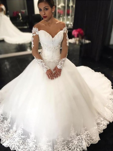Ball Gown Sleeveless Off-the-Shoulder Court Train Ivory Tulle Wedding Dresses
