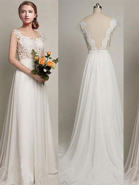 A-Line/Princess Sleeveless Scoop Sweep Train Ivory Chiffon Wedding Dresses