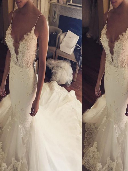 Mermaid Sleeveless Spaghetti Straps Court Train Ivory Tulle Wedding Dresses