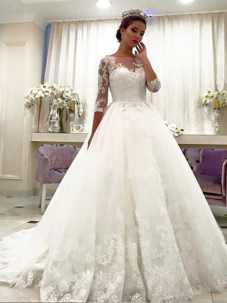 Ball Gown 3/4 Sleeves Bateau Court Train Ivory Tulle Wedding Dresses