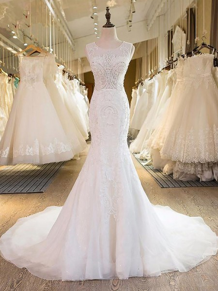 Mermaid Sleeveless Scoop Sweep Train Ivory Tulle Wedding Dresses