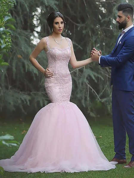 Mermaid Sleeveless Straps Sweep Train Pink Tulle Wedding Dresses