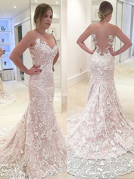 Mermaid Sleeveless Sweetheart Sweep Train Ivory Lace Wedding Dresses