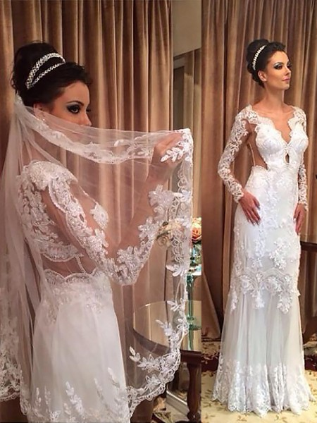 Sheath/Column Long Sleeves V-neck Sweep Train Ivory Tulle Wedding Dresses