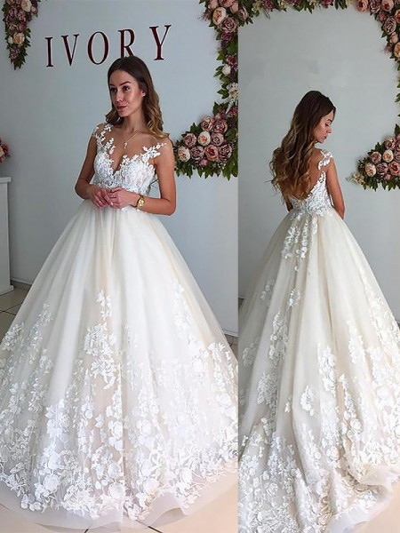 A-Line/Princess Sleeveless V-neck Court Train Ivory Tulle Wedding Dresses