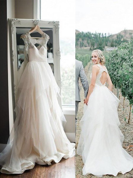 A-Line/Princess Sleeveless Straps Sweep Train Ivory Tulle Wedding Dresses