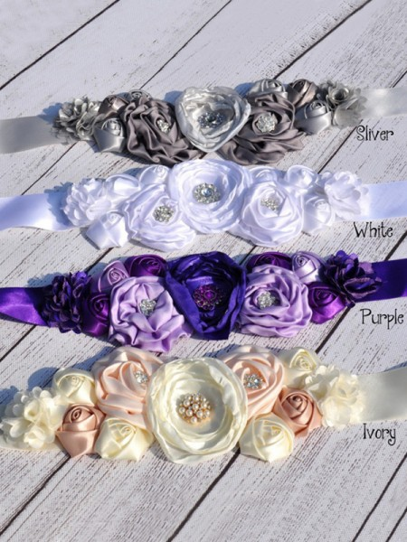 Bridal Sash Pearl Beaded Wedding Dress Waistband Ribbon Belt