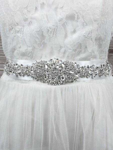 Bridal Wedding Cloth Sash Crystal Rhinestone Ribbon