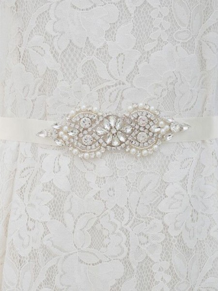 Women's Elegant Satin Sashes With Rhinestones/Imitation Pearls