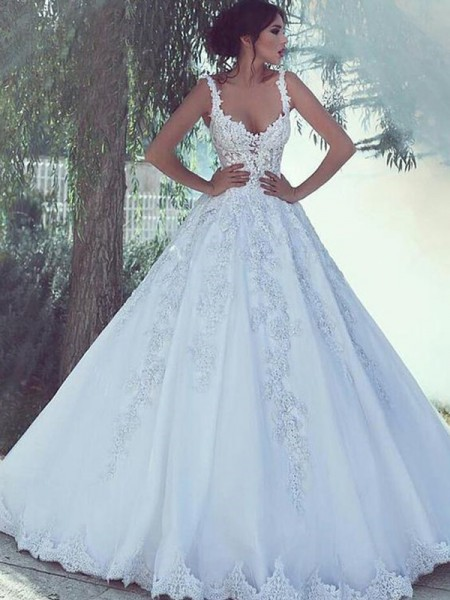 Ball Gown Sleeveless Scoop Sweep/Brush Train Satin Lace Wedding Dresses